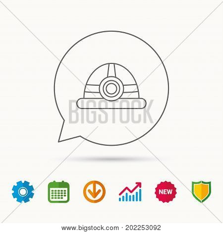 Engineering icon. Engineer or worker helmet sign. Calendar, Graph chart and Cogwheel signs. Download and Shield web icons. Vector