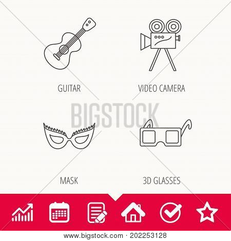 Guitar music, video camera and theatre mask icons. 3d glasses linear sign. Edit document, Calendar and Graph chart signs. Star, Check and House web icons. Vector