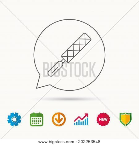 File tool icon. Carpenter equipment sign. Calendar, Graph chart and Cogwheel signs. Download and Shield web icons. Vector