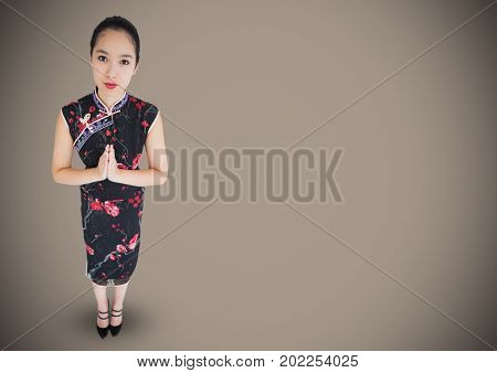 Digital composite of Overhead of geisha against brown background