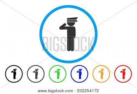 Child Officer vector rounded icon. Image style is a flat gray icon symbol inside a blue circle. Additional color variants are gray, black, blue, green, red, orange.