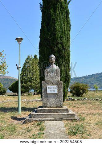 ORSOVA ROMANIA - 08.27.2017: Mihai Eminescu poet statue landmark