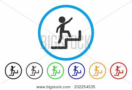 Child Steps Upstairs vector rounded icon. Image style is a flat gray icon symbol inside a blue circle. Additional color variants are grey, black, blue, green, red, orange.