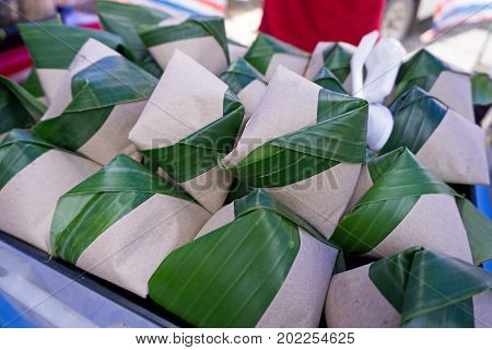 Nasi Lemak Wrapped With Banana Leaves And Paper For Sell In Kota Kinabalu, Sabah Borneo, Malaysia.