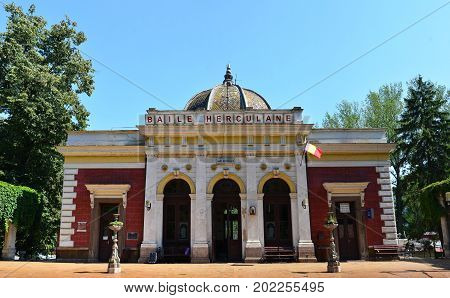 Baile Herculane town Romania railway station landmark architecture