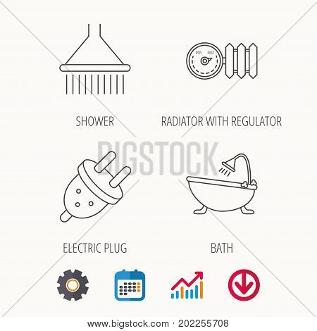 Shower, bath and electric plug icons. Radiator with regulator linear sign. Calendar, Graph chart and Cogwheel signs. Download colored web icon. Vector