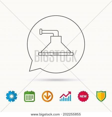Kitchen hood icon. Kitchenware equipment sign. Calendar, Graph chart and Cogwheel signs. Download and Shield web icons. Vector