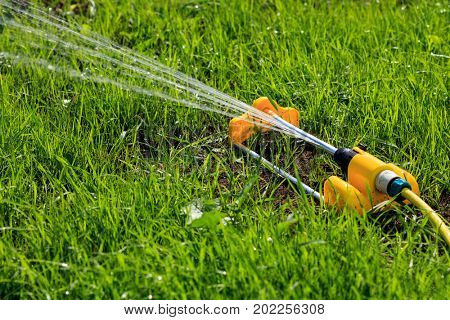Closeup shot of yellow lawn sprinkler spaying water over green grass field. Irrigation system