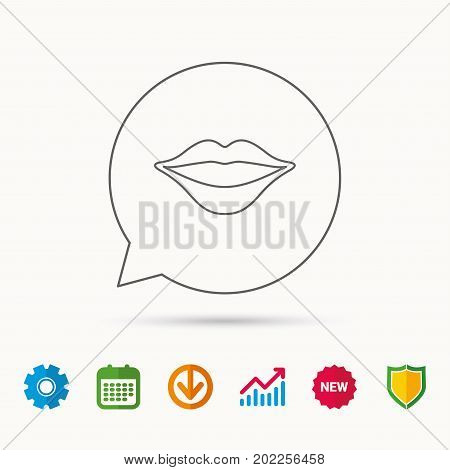 Lips icon. Smiling mouth sign. Calendar, Graph chart and Cogwheel signs. Download and Shield web icons. Vector