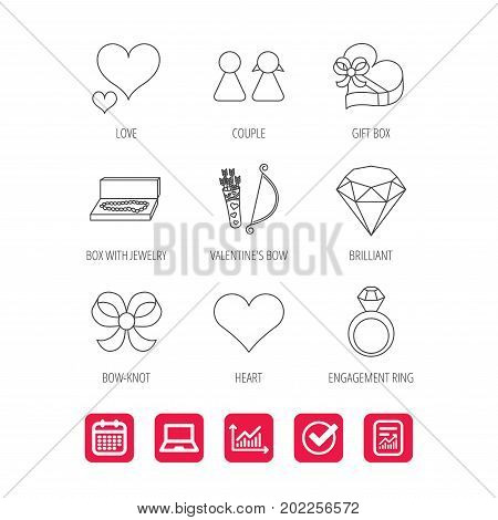Love heart, brilliant and engagement ring icons. Bow, couple and gift box linear signs. Valentine amour arrows flat line icons. Report document, Graph chart and Calendar signs. Vector