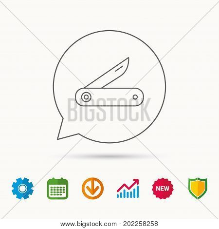 Multitool knife icon. Multifunction tool sign. Hiking equipment symbol. Calendar, Graph chart and Cogwheel signs. Download and Shield web icons. Vector
