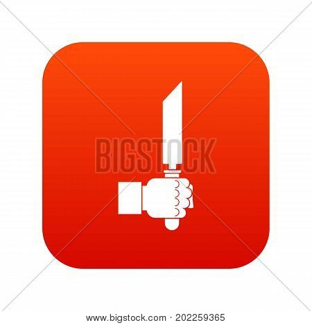 Pincer or plier in man hand icon digital red for any design isolated on white vector illustration poster