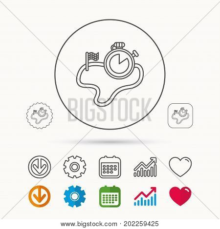 Race road icon. Finishing flag with timer sign. Calendar, Graph chart and Cogwheel signs. Download and Heart love linear web icons. Vector