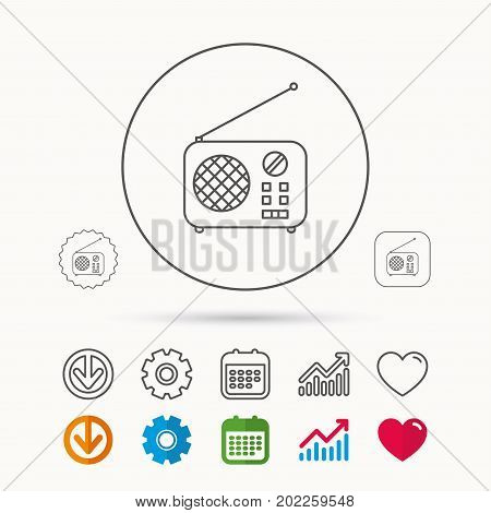 Radio icon. Retro musical receiver sign. Calendar, Graph chart and Cogwheel signs. Download and Heart love linear web icons. Vector