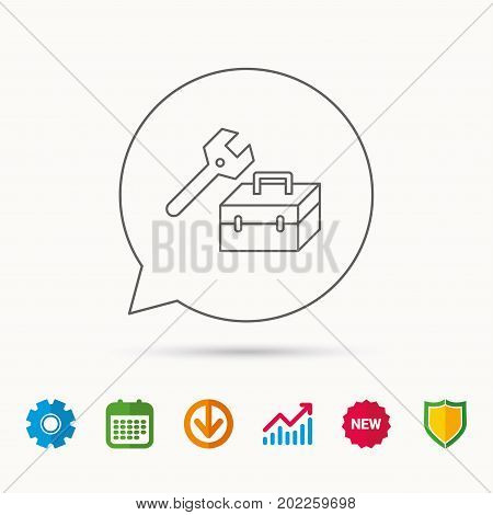 Repair toolbox icon. Wrench key sign. Calendar, Graph chart and Cogwheel signs. Download and Shield web icons. Vector