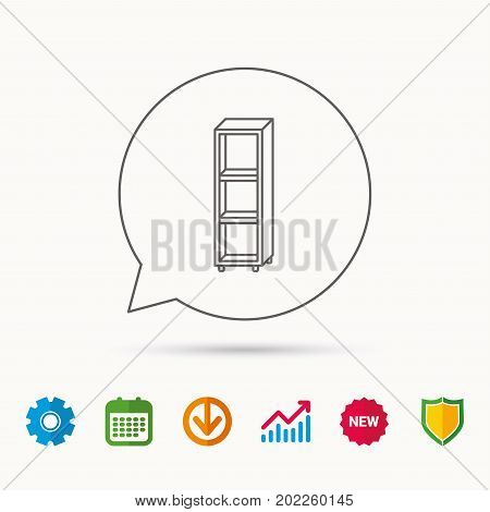 Empty shelves icon. Shelving sign. Calendar, Graph chart and Cogwheel signs. Download and Shield web icons. Vector