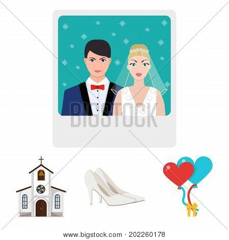 Elegant wedding shoes with heels, balloons for the ceremony, a church with a stained-glass window and a bell, a picture of the bride and groom. Wedding set collection icons in cartoon style vector symbol stock illustration web.