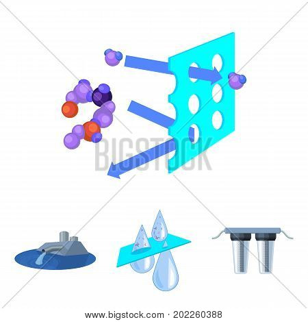 Purification, water, filter, filtration .Water filtration system set collection icons in cartoon style vector symbol stock illustration . poster