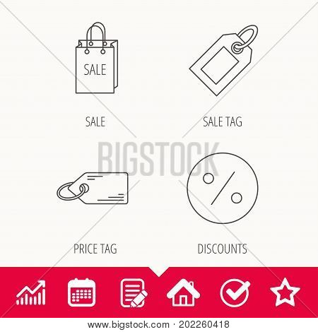 Price tag, sale bag and coupon icons. Discounts linear sign. Edit document, Calendar and Graph chart signs. Star, Check and House web icons. Vector