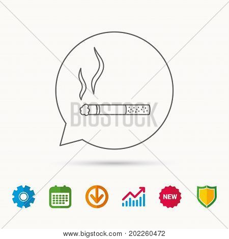 Smoking allowed icon. Yes smoke sign. Calendar, Graph chart and Cogwheel signs. Download and Shield web icons. Vector