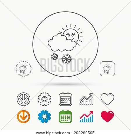 Snow with sun icon. Snowflakes with cloud sign. Snowy overcast symbol. Calendar, Graph chart and Cogwheel signs. Download and Heart love linear web icons. Vector