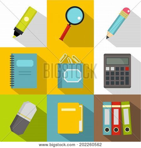 Stationery icon set. Flat style set of 9 stationery vector icons for web design