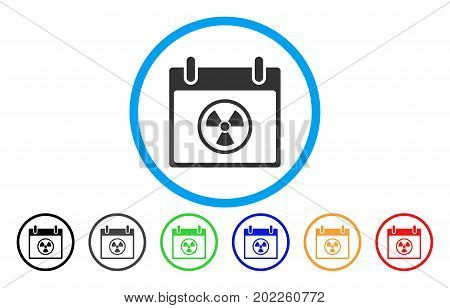 Radioactive Calendar Day vector rounded icon. Image style is a flat gray icon symbol inside a blue circle. Additional color variants are grey, black, blue, green, red, orange.