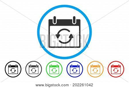 Refresh Calendar Day vector rounded icon. Image style is a flat gray icon symbol inside a blue circle. Additional color variants are gray, black, blue, green, red, orange.