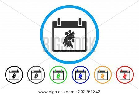 Rooster Head Calendar Day vector rounded icon. Image style is a flat gray icon symbol inside a blue circle. Additional color versions are grey, black, blue, green, red, orange.