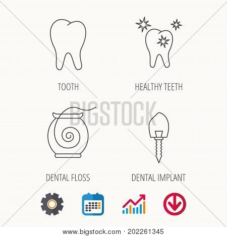 Tooth, healthy teeth and dental implant icons. Dental floss linear sign. Calendar, Graph chart and Cogwheel signs. Download colored web icon. Vector