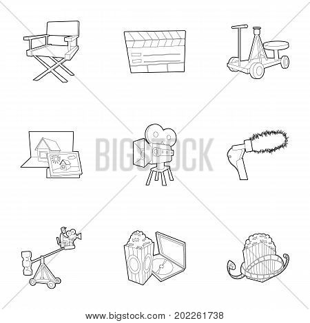 Filming location icons set. Outline set of 9 filming location vector icons for web isolated on white background