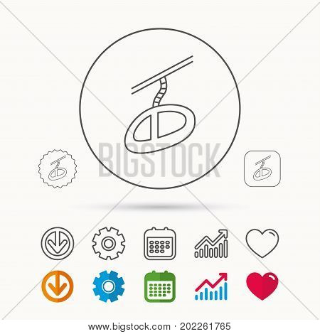 Teleferic icon. Telpher cable-railway sign. Calendar, Graph chart and Cogwheel signs. Download and Heart love linear web icons. Vector