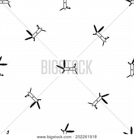 Swiss multipurpose knife pattern repeat seamless in black color for any design. Vector geometric illustration