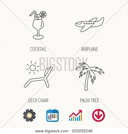 Airplane, deck chair and cocktail icons. Palm tree linear sign. Calendar, Graph chart and Cogwheel signs. Download colored web icon. Vector