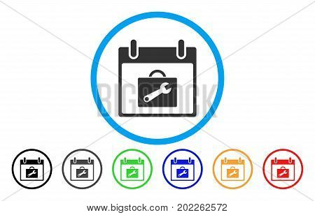 Toolbox Calendar Day vector rounded icon. Image style is a flat gray icon symbol inside a blue circle. Additional color variants are grey, black, blue, green, red, orange.