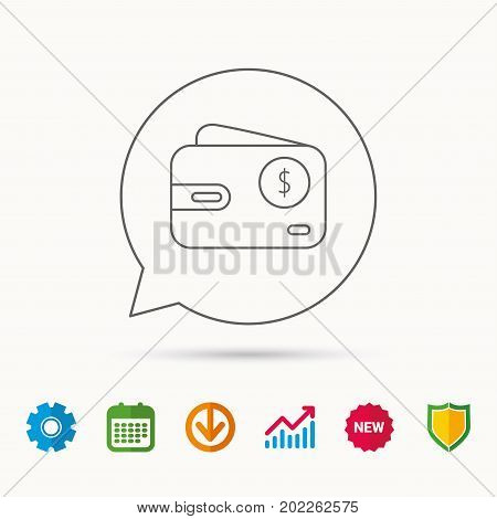 Dollar wallet icon. USD cash money bag sign. Calendar, Graph chart and Cogwheel signs. Download and Shield web icons. Vector