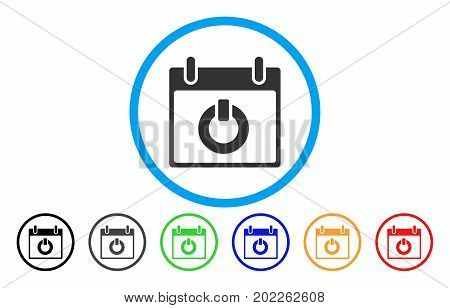 Turn On Calendar Day vector rounded icon. Image style is a flat gray icon symbol inside a blue circle. Additional color variants are gray, black, blue, green, red, orange.