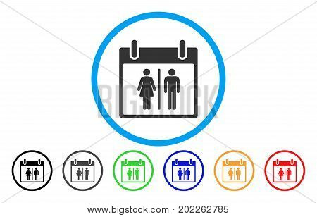 Water Closet Calendar Day vector rounded icon. Image style is a flat gray icon symbol inside a blue circle. Additional color versions are grey, black, blue, green, red, orange.