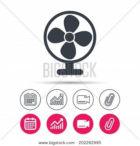 Ventilator icon. Air ventilation or fan symbol. Statistics chart, calendar and video camera signs. Attachment clip web icons. Vector