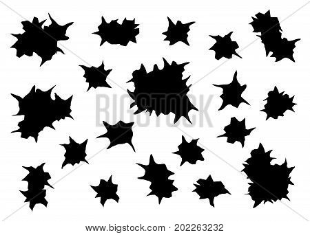 bullet holes silhouette on white background , vector