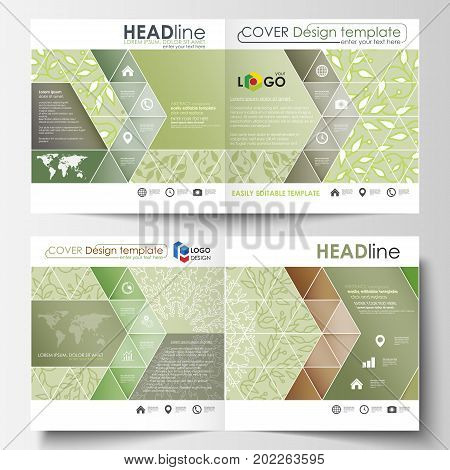 Business templates, square design bi fold brochure, magazine, flyer, report. Leaflet cover, abstract flat layout. Green color background with leaves. Spa concept in linear style. Vector decoration for fashion, cosmetics, beauty industry.
