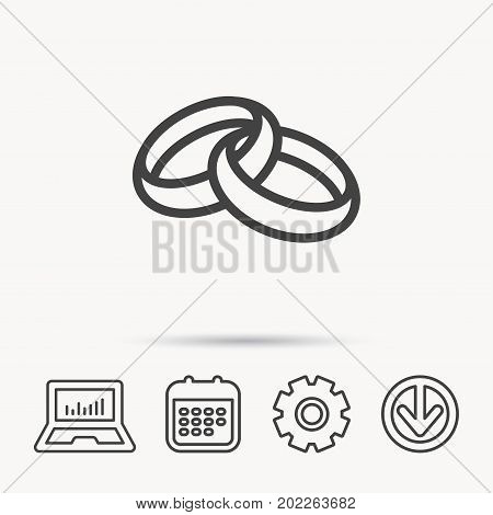 Wedding rings icon. Bride and groom jewelery sign. Notebook, Calendar and Cogwheel signs. Download arrow web icon. Vector