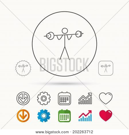 Weightlifting icon. Heavy fitness sign. Muscular workout symbol. Calendar, Graph chart and Cogwheel signs. Download and Heart love linear web icons. Vector