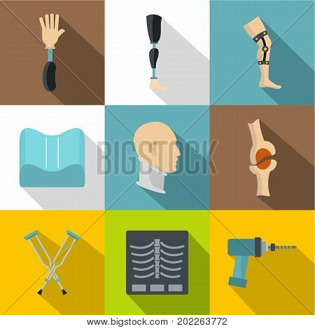 Orthopedics prosthetics icon set. Flat style set of 9 orthopedics prosthetics vector icons for web design