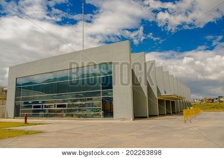 Quito, Pichincha Ecuador - August 27 2017: Beautiful view of the metro construction located inside of the Bicentenario park, with a building construction, at north part of the city of Quito.