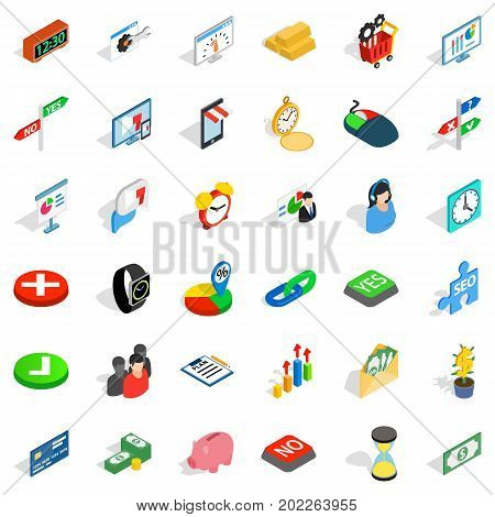 Transaction icons set. Isometric style of 36 transaction vector icons for web isolated on white background