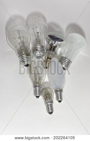 Incandescent And Halogen Bulbs With Different Sizes Of Bases