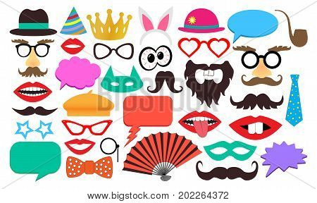 Party birthday photo booth props ,icons, vector
