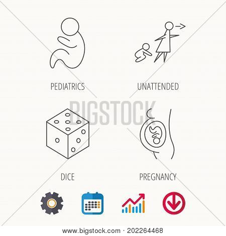 Pregnancy, paediatrics and dice icons. Unattended linear sign. Calendar, Graph chart and Cogwheel signs. Download colored web icon. Vector