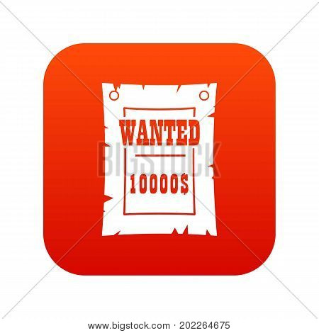 Vintage wanted poster icon digital red for any design isolated on white vector illustration